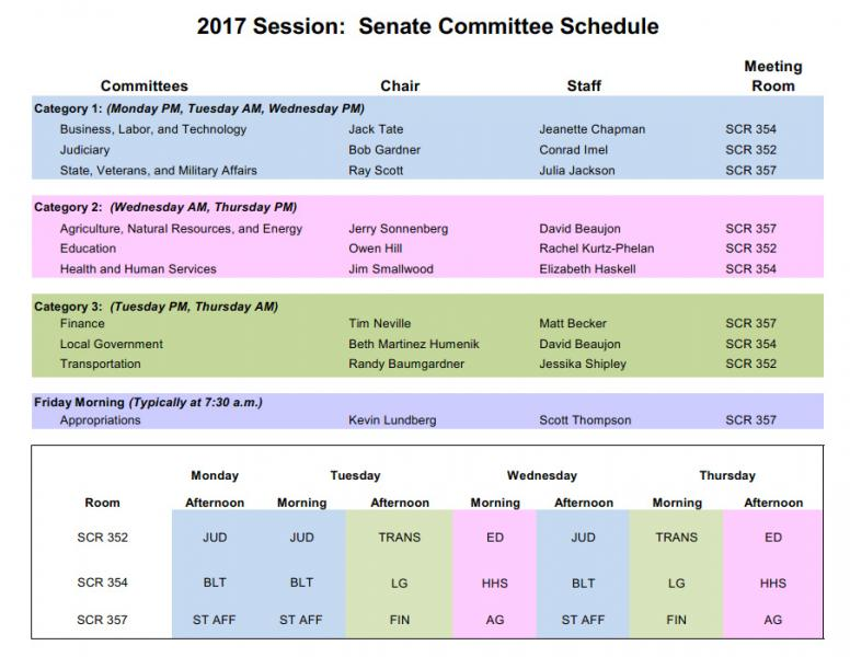 2017 Senate Committee Schedule Colorado General Assembly