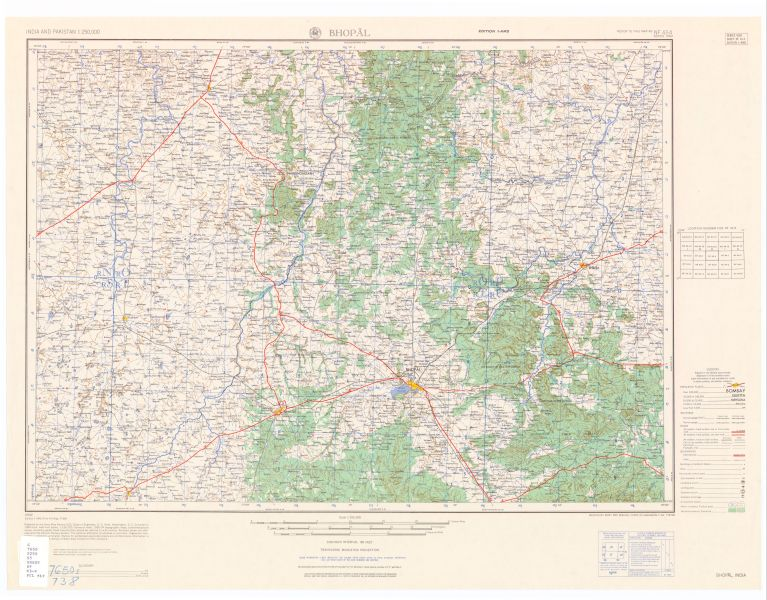 India and Pakistan AMS Topographic Maps   Perry Casta    eda Map         NF 43 4 Bhopal