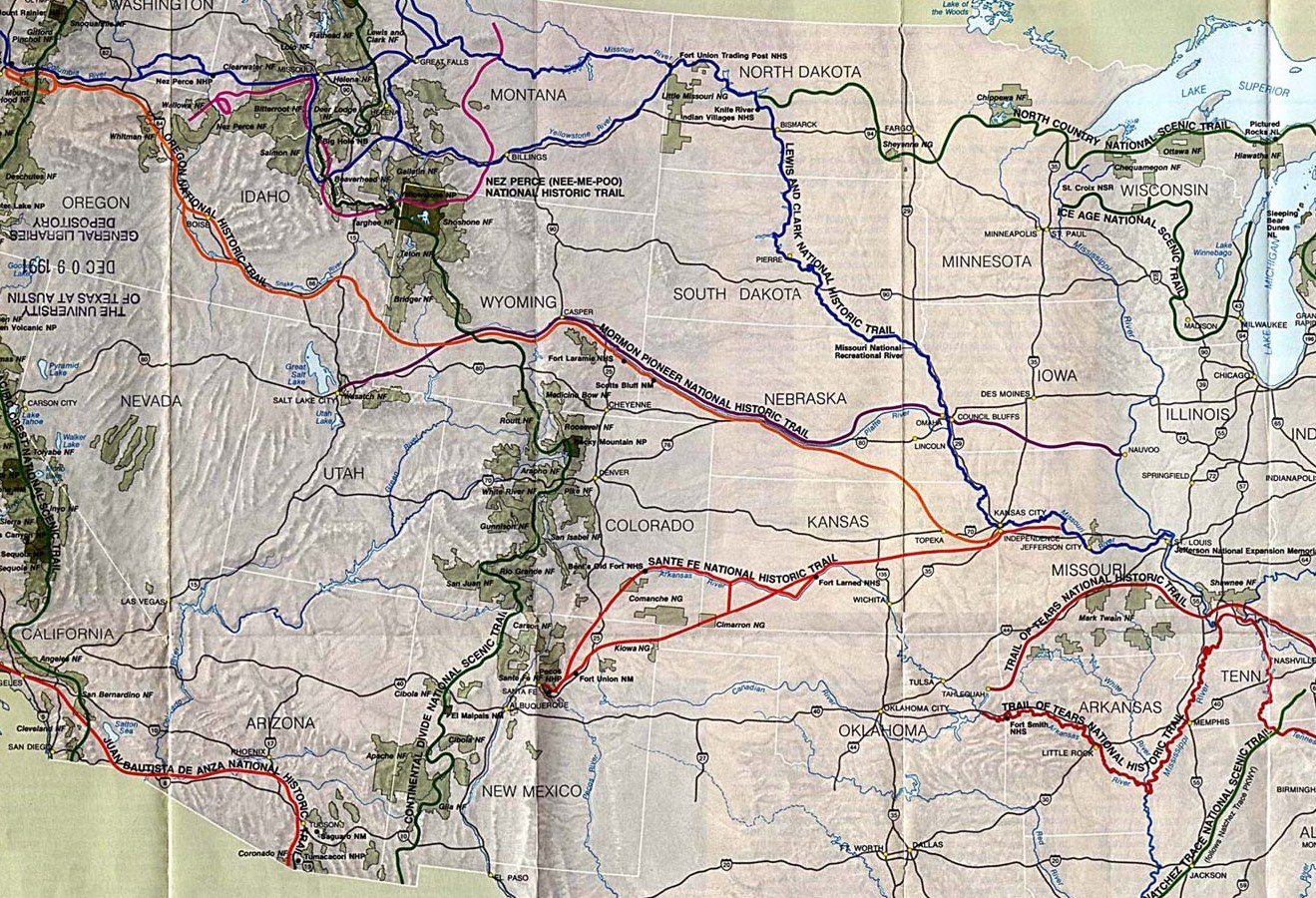 HD Decor Images » United States National Parks and Monuments Maps   Perry Casta    eda         National Trails System Map