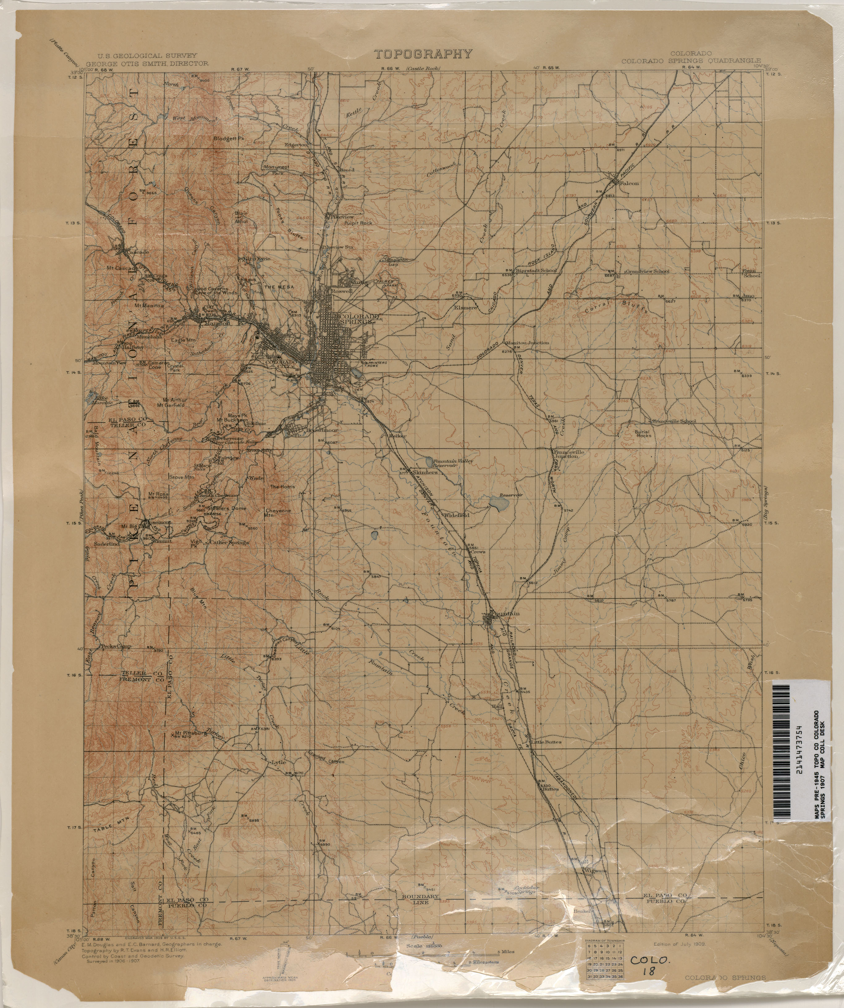 Colorado Historical Topographic Maps   Perry Casta    eda Map         Colorado Springs