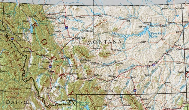 Montana Maps   Perry Casta    eda Map Collection   UT Library Online     Shaded relief map with state boundaries  forest cover  place names   major highways  Portion of  The National Atlas of the United States of  America