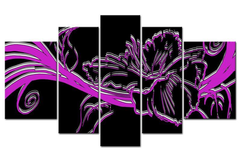 VIOLET FLOWER 5 BILDER 3D MODERN ART STYLE M50509 XXL - Die Leinwandfabrik