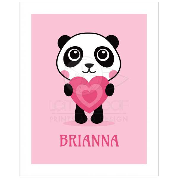 Panda holding pink love heart   Cute nursery wall art poster print     Cute panda with pink love heart  animal theme art print   poster for kids