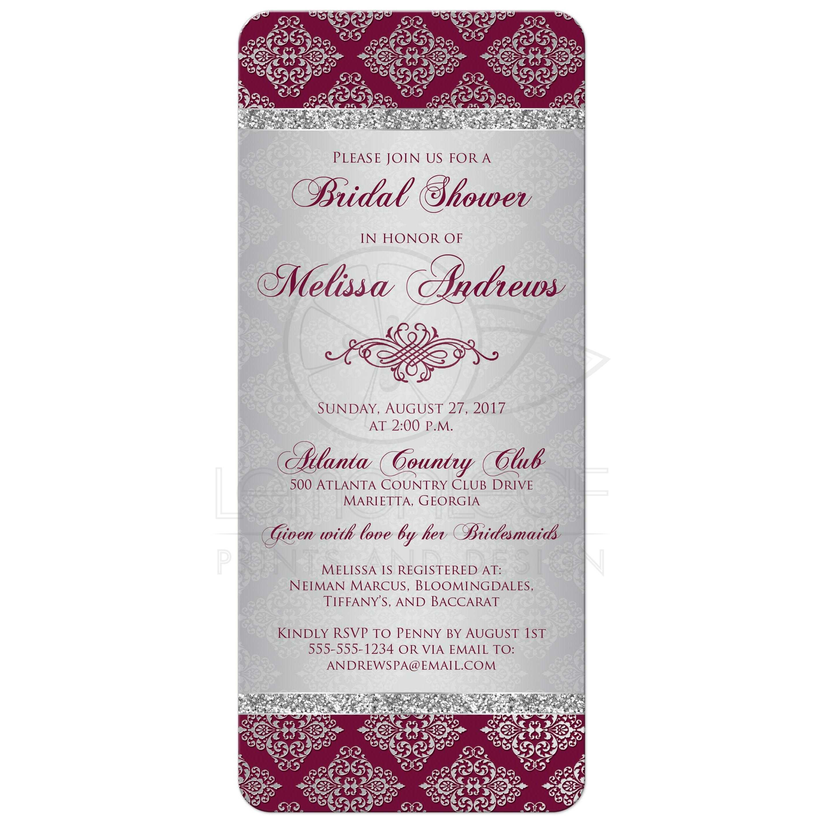 Purple And Silver Bridal Shower Invitations