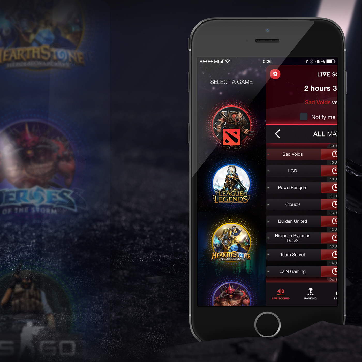 GoodGame is mobile app that covers live match scores  history and     The app includes players and teams in the top leagues for Dota 2  League of  Legends  LOL   CS GO  Hearthstone