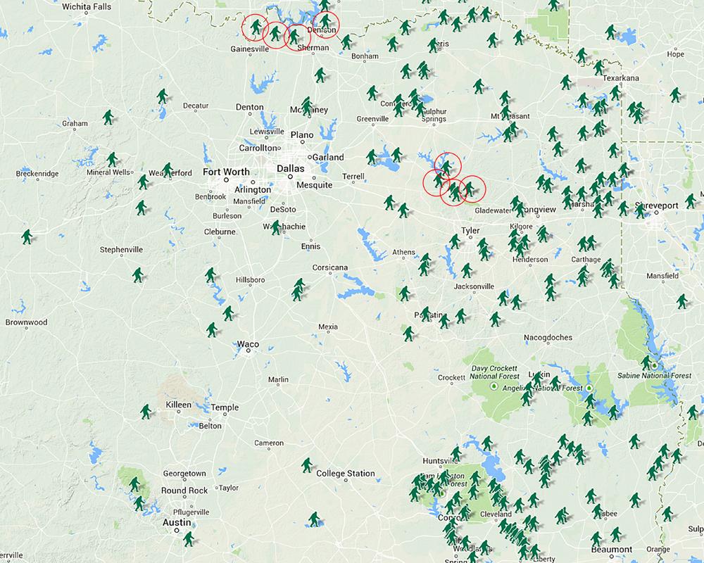 Wyoming Bigfoot Sightings Map