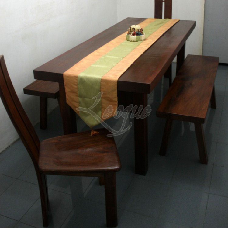 6 Seater Dining Table With 2 Dining Side Benches Leoque