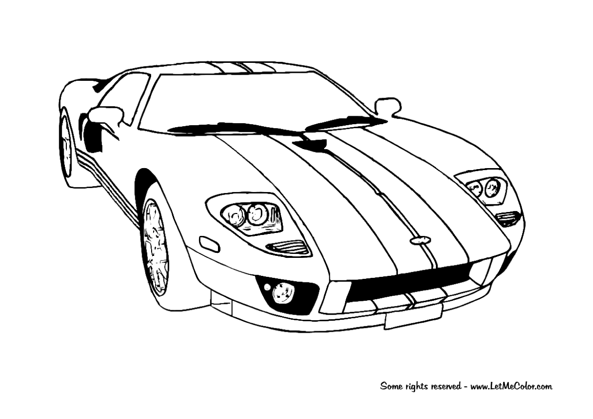 Ford Gt Racing Car Coloring Page Letmecolor