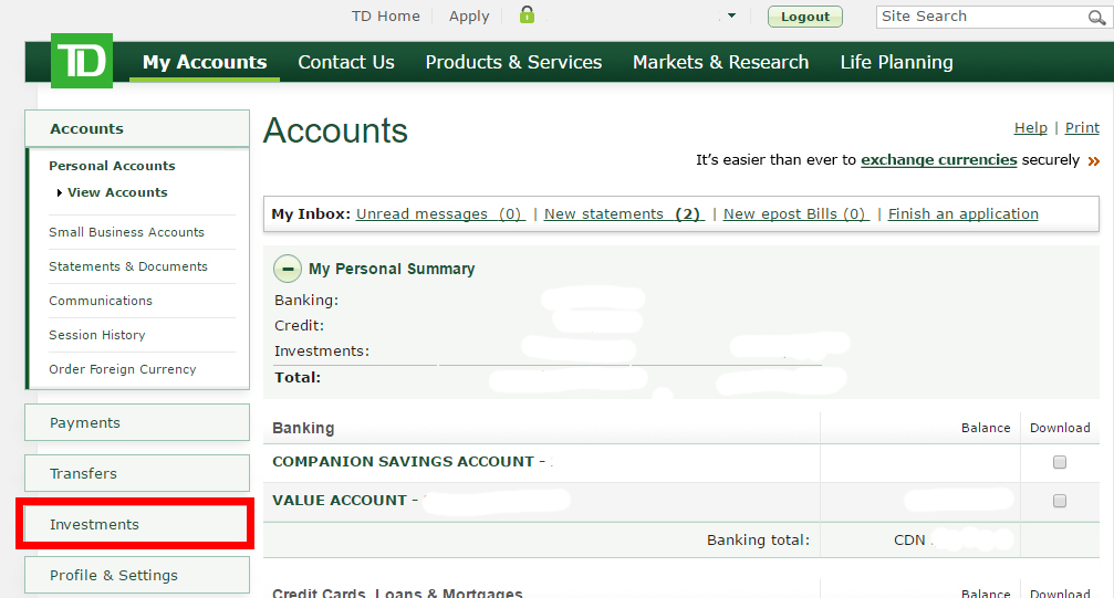 Td Banking Online Personal