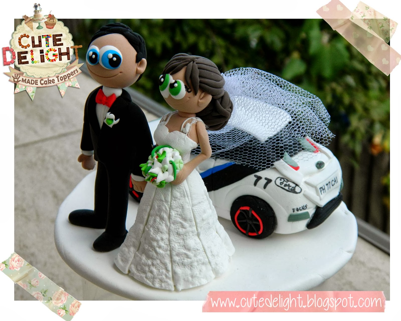 Wedding cake toppers  Custom Cake Topper  Funny cake toppers  Cake     Wedding Cake Topper Custom Made   Bride and Groom with Racing Car