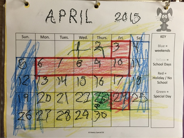 Color Coded Visual Calendars for Special Education   Breezy Special Ed Visual Calendars for Students with Special Needs   great for math  life  skills  and