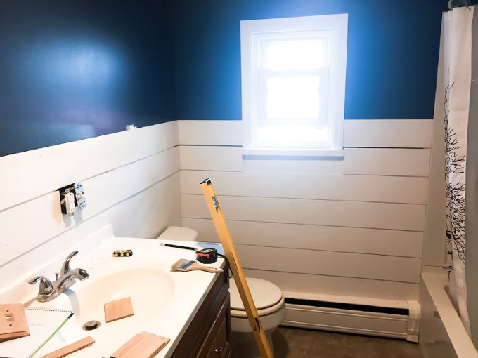 Read this before installing DIY Faux Shiplap Walls   Pretty Purple Door During the process of installing the plywood faux shiplap  We started at  the top