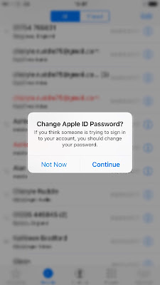 Your Apple ID s at risk Then the following came up  Change Apple ID Password  But I decided that I  would not change the ID at this point  As it maybe fake or being observed