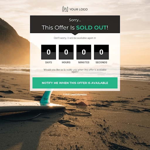 Landing Page Templates by Leadpages     Sold Out Page  Preview Template