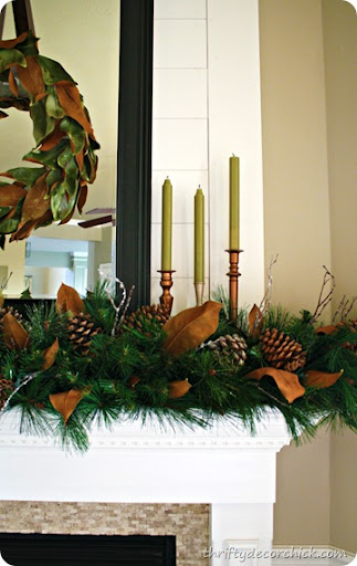 Magnolia Christmas mantel from Thrifty Decor Chick magnolia Christmas mantel