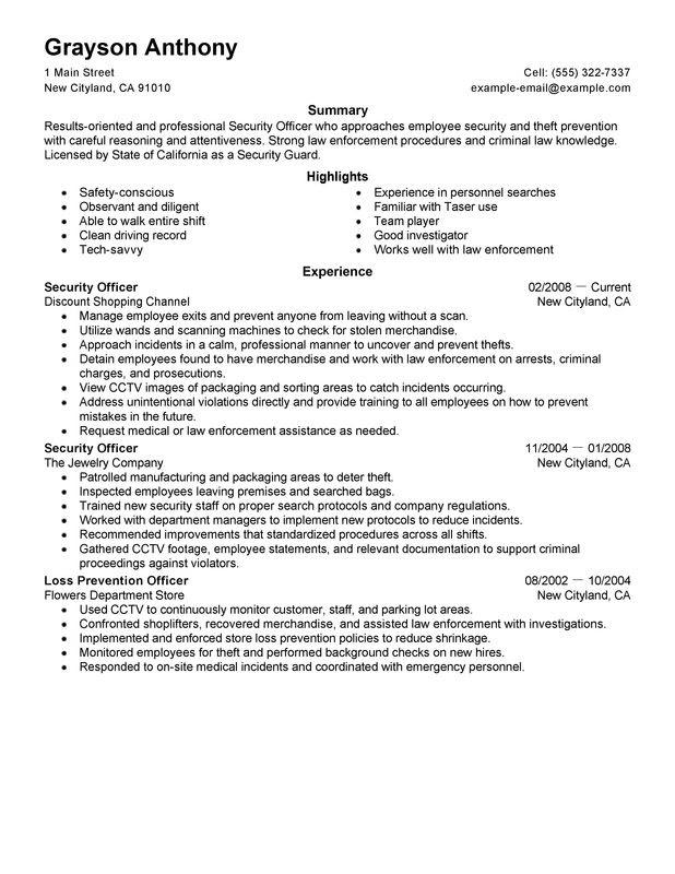 Private Security Officer Job Description