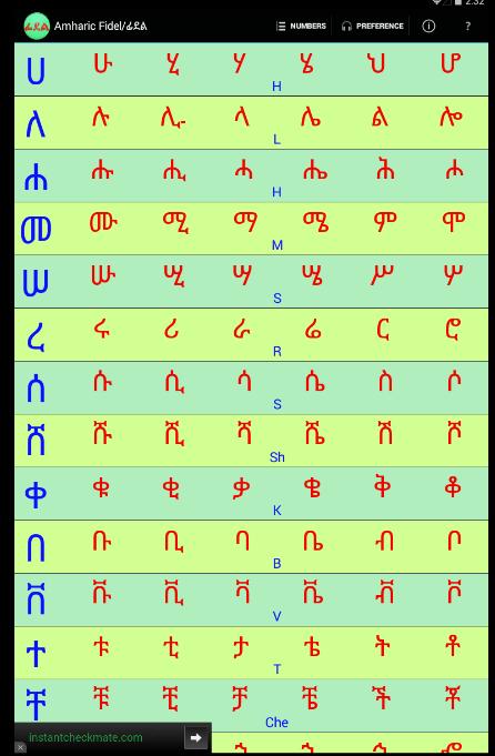 Amharic Alphabet Keyboard Free Download