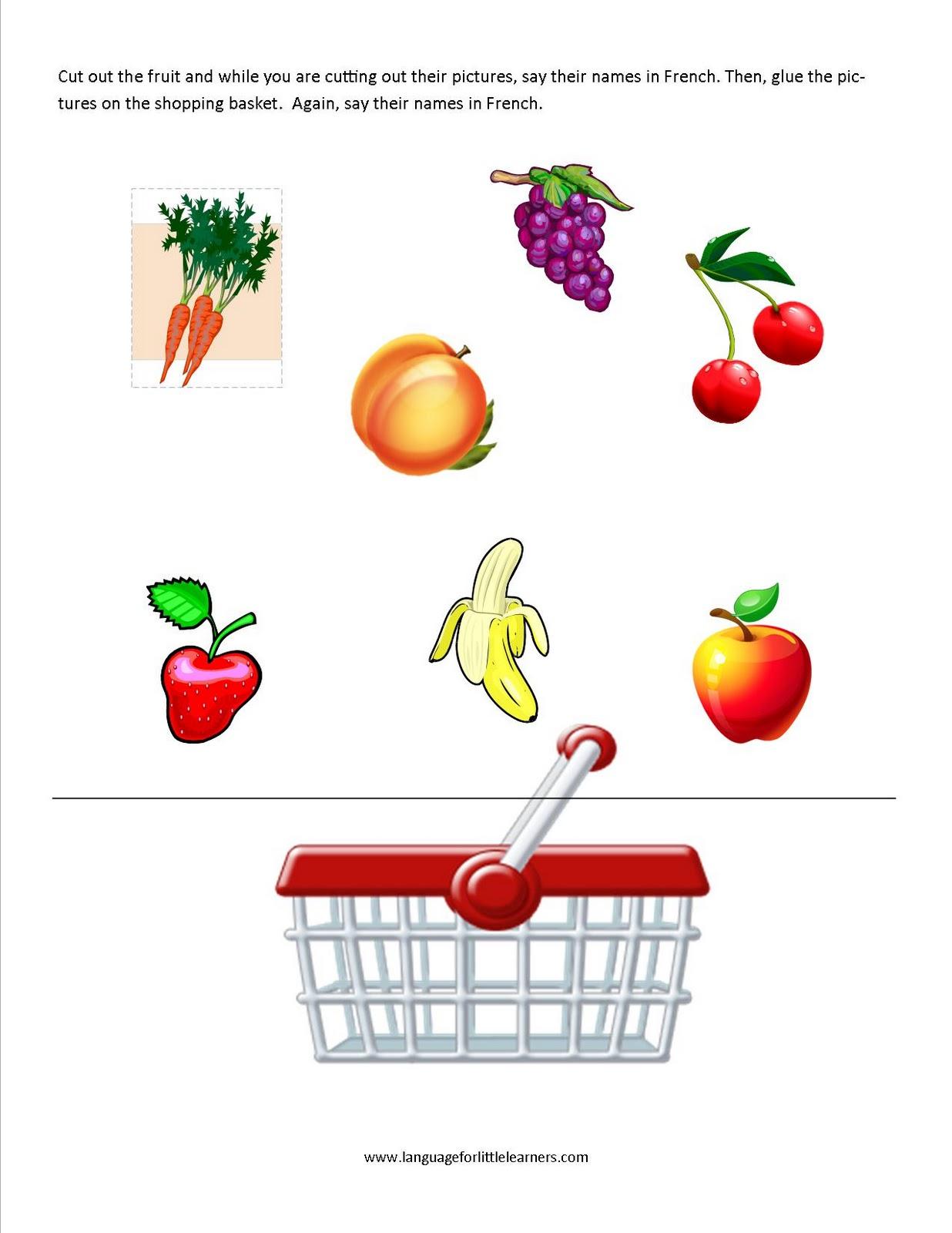 L Ngu Ge Little Le Rners French W Ksheet Fruit N Mes