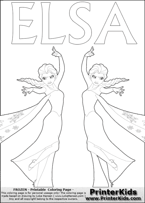 Frozen Elsa Printable Coloring Page Coloring Page With
