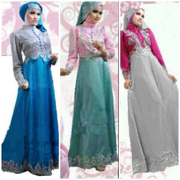 Baju Gamis Pesta Satin New Princess S Gaun Pesta Saten Terbaru
