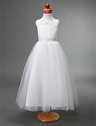 First Communion Dresses Wholesale   Lightinthebox com     Flower Girl Dress   Satin   Tulle Sleeveless Bateau Neck with Beading    Draping by LAN TING BRIDE       Spring   Summer   Fall   Winter   First  Communion