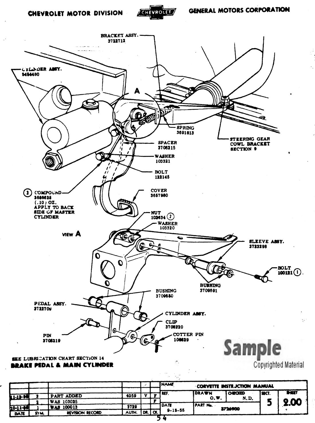 1956 1957 corvette factory assembly manual brake pedal s le page