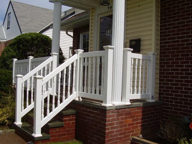 Pvc Railings Handrails Double V*Rg*N Vinyl Exterior | Vinyl Handrails For Concrete Steps