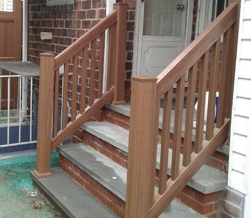 Outdoor Pvc Vinyl Railings Handrails Liberty Fence Railing   Vinyl Railing For Steps   Plastic   Leadvision   Exterior   2 Step   Front Door