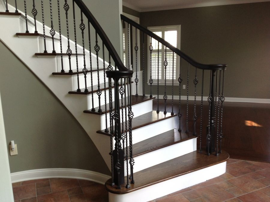 Iron Balusters Lomonaco S Iron Concepts | Wood Handrail With Iron Balusters | Ash Gray | Ole Iron | Upstairs | Wrought Iron | Low Profile