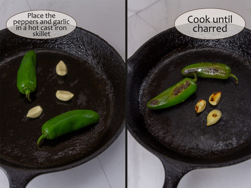 charring the peppers and garlic in a cast iron skillet.