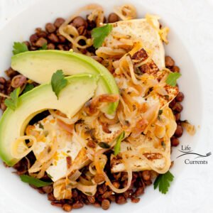 Orange-Shallot Tofu with Avocado Served on a Bed of Roasted Lentils a square photo