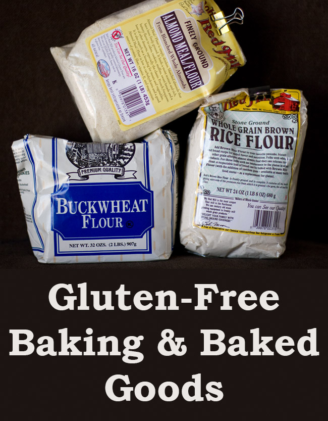 Three different gluten free flours for a tutorial on Gluten-Free Baking Baked Goods by Life Currents