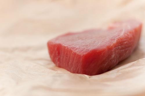 raw piece of tuna