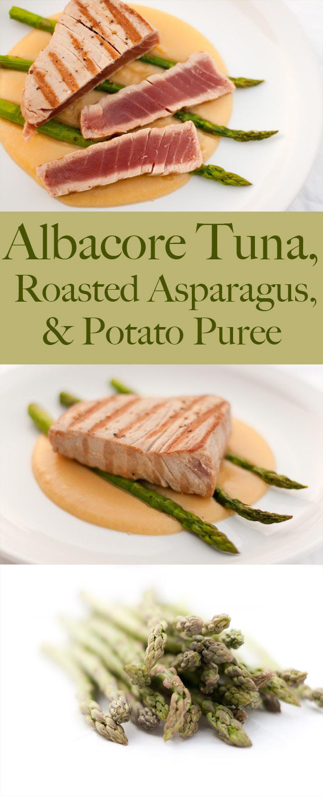 Seared Albacore Tuna over Roasted Asparagus and Potato Puree