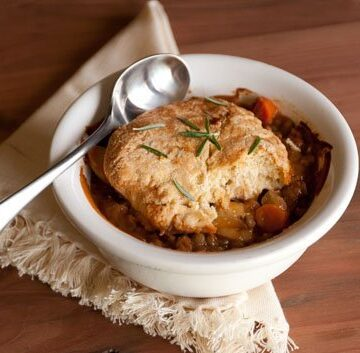vegetarian lentil and potato pot pies with rosemary biscuit crust