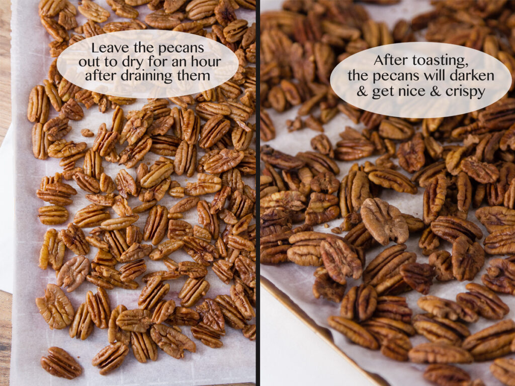 process shots for cripsy sugared pecans: drying and baking