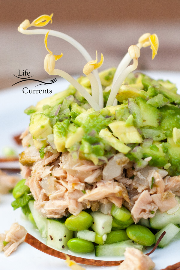 Island Trollers Albacore Tuna Tower with cucumber, edamame, jalapeno Island Trollers Albacore tuna, water chestnuts, and avocado, served with soy sauce, bean sprouts, and crispy baked won tons