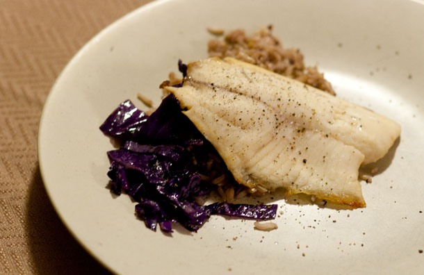 fish, cabbage, rice