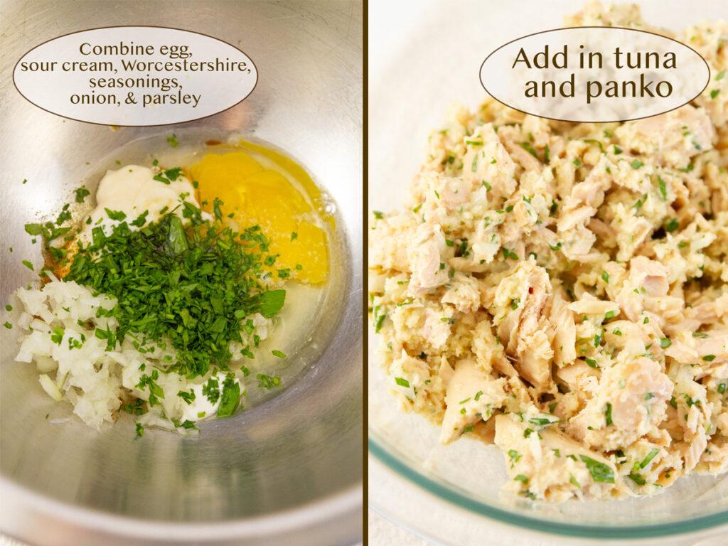how to make tuna patties, egg mixture, and tuna mixture.