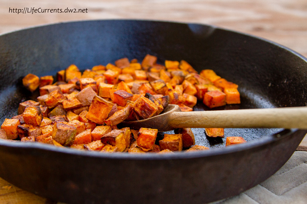 cooked sweet Potatoes in a skillet