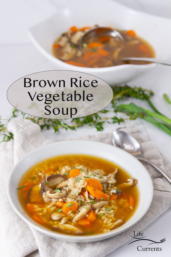 two bowls of Brown Rice Vegetable Soup, title on image