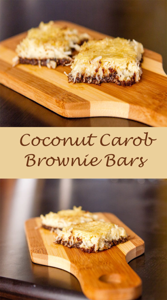 COCONUT CAROB BROWNIE BARS RECIPE long pin with two images and a title