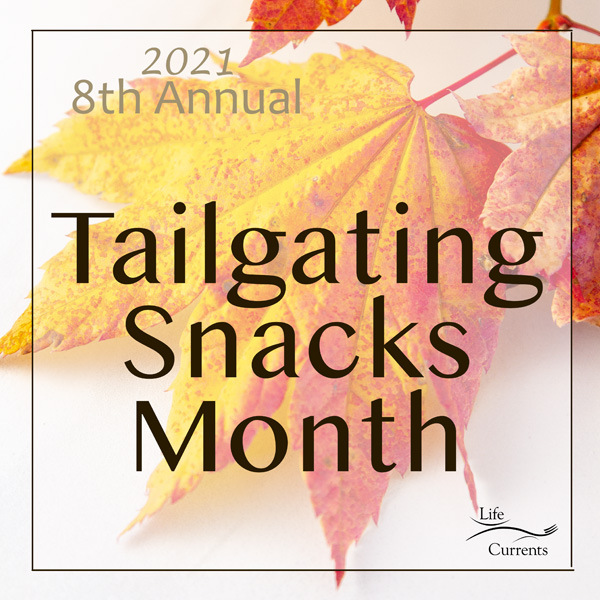 a fall leaf with text overlay for Tailgating Snacks Month.