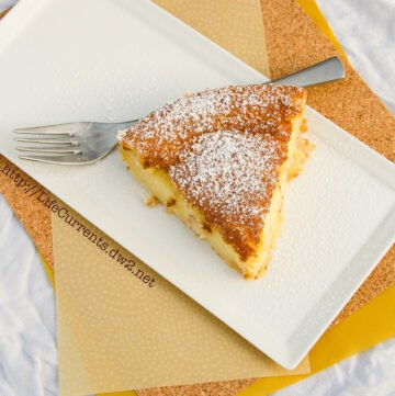 Custard Tart or 1-2-3 Tart Magically separates into a crust layer, custard, and cake. It's easy and really yummy! Life Currents http://lifecurrentsblog.com/ #dessert #custard #cake