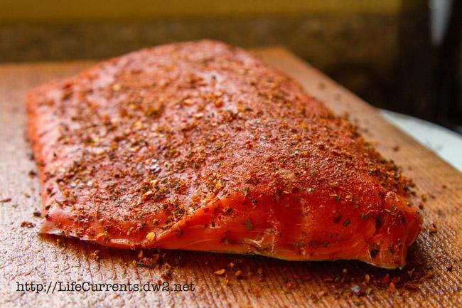 raw salmon seasoned with potlatch seasoning