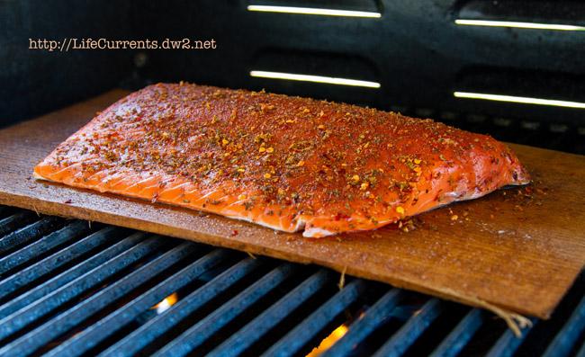salmon on a cedar plank on the grill