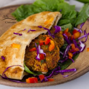 square crop, featured image for Southwestern Falafel in a pita with veggies