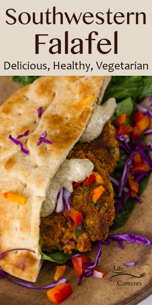 Southwestern Falafel close up with creamy sauce on the patties and lots of veggies. Title on top of image