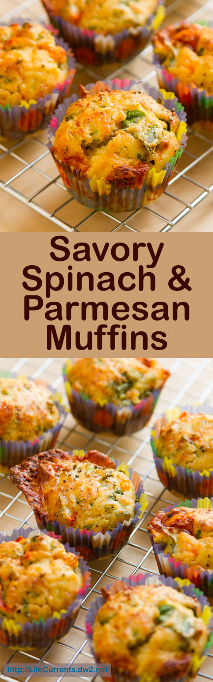 two images of savory muffins with the title in the middle