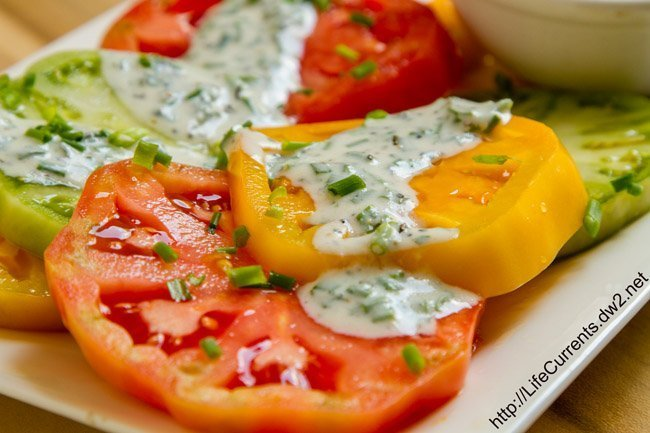 ranch dressing on tomatoes